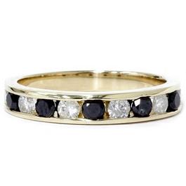 1ct Black & White Diamond Wedding 14K Gold Ring New (G/H, I1)