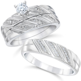 1/3ct His & Hers Diamond Trio Engagement Wedding Bridal Ring Set 10K White Gold (H/I, I1-I2)