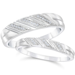 Diamond Wedding Rings Set 1/5cttw Matching His Hers Bands 10k White Gold (H/I, I1-I2)