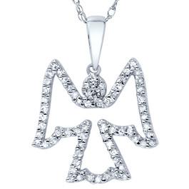 1/4ct Diamond Angel Pendant 14K White Gold