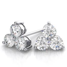 1ct Genuine Diamond 3 Stone Earrings 14K White Gold (H-I, VVS)