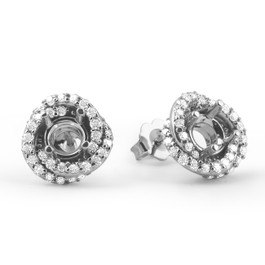 3/4ct Diamond Halo Studs Spiral Mounting Fits 4.5-5.5mm Round 14k White Gol ((G-H), SI)