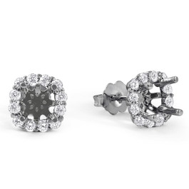 5/8ct Diamond Cushion Halo Studs Mounting Fits 5.5-6.5mm Round Stones 14k White Gold (G-H, I1)