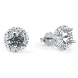 5/8ct Diamond Halo Studs Mounting Fits 5.5-6.5mm Round Stones 14k White Gold (G-H, I1)