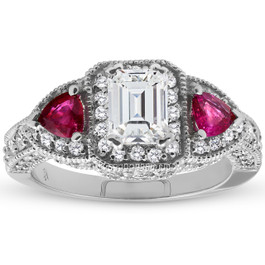 2 1/2ct Emerald Diamond Halo Vintage Ruby Engagement Ring 14k White Gold ((G-H), SI(1)-SI(2))