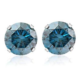 1 1/4ct Blue Diamond Studs 14K White Gold (Blue, SI)
