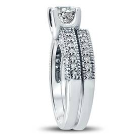 1 1/10ct Vintage Pave Diamond Ring Set 14K White Gold (G/H, I1)