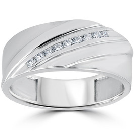 1/6CT Mens Diamond Ring 10K White Gold (H/I, I1-I2)