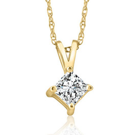 14k Gold Princess Cut 3/8ct Diamond Solitaire Pendant (G/H, I1)