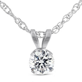 3/8ct Solitaire Round Brilliant Cut Lab Created Diamond Pendant 14K White Gold (F, SI1)