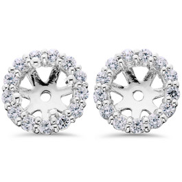 Women's 5/8ct Diamond Studs & Halo Earring  Jackets Solid 14k White Gold (G-H, I1-I2)