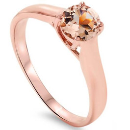 6MM Morganite Solitaire Engagement Anniversary Ring 14K Rose Gold