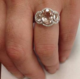 2 3/4ct 3 Stone Oval Morganite & Diamond Halo Ring 14K White Gold (H/I, I1-I2)