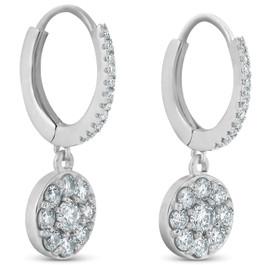 1.15ct Dangle Diamond Halo Earrings Womens 18k White Gold Hoops (F, VS)