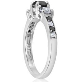 1 1/4CT Black & White Diamond Engagement 3-Stone Ring 10K White Gold (H/I, I1-I2)