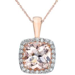 1 1/10ct Morganite Cushion Halo Diamond Pendant 14K Rose Gold (G, I2)