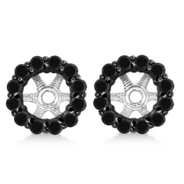 5/8ct Black Diamond Halo Earring Jackets 14K White Gold (Black, )