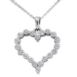 1ct Diamond Heart Shaped Pendant 14K White Gold New (G/H, I1)