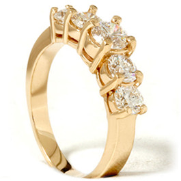 2ct Lab Created Diamond 5-Stone Engagement Anniversary Ring 14K Yellow Gold (F, VS)