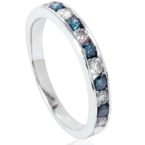 12ct Blue White Diamond Channel Set Wedding Ring 14K White Gold