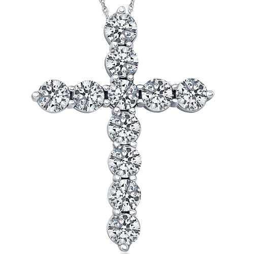 300ct diamond cross pendant 18k white gold womens round brilliant 300ct diamond cross pendant 18k white gold womens round brilliant cut 18 chain f vs aloadofball Image collections