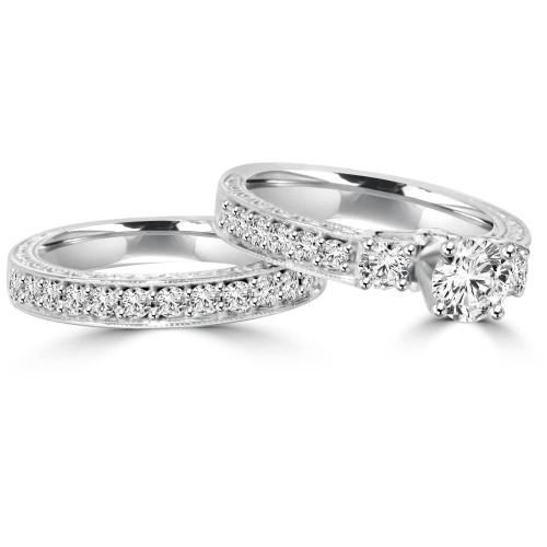 1 1 4ct Vintage Diamond Engagement Wedding Ring Set 14k