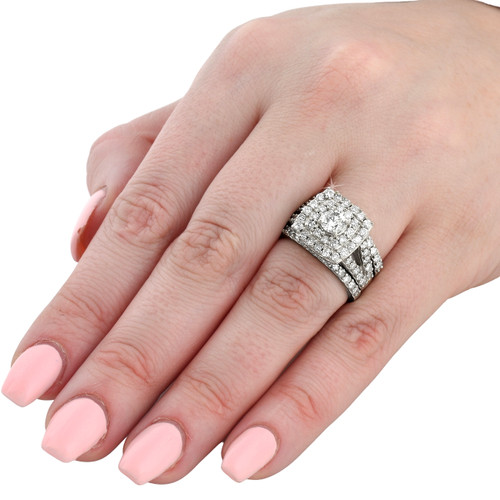 3 ct Diamond Engagement Wedding Cushion Halo Ring Set 10k White Gold