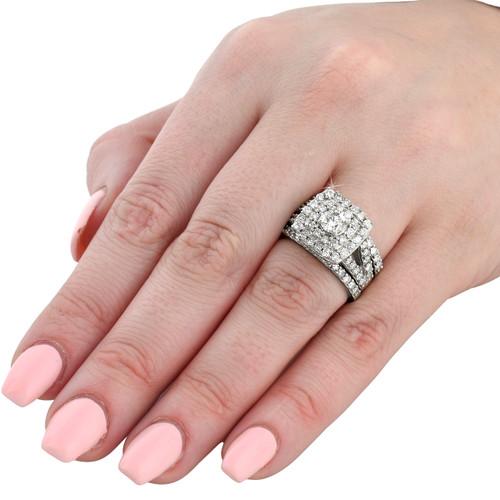 Exceptional 3 Ct Diamond Engagement Wedding Cushion Halo Ring Set 10k White Gold (H/I,  I1 I2)