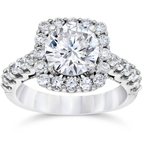 3 Ct (2Ct Center) Cushion Halo Enhanced Diamond Engagement