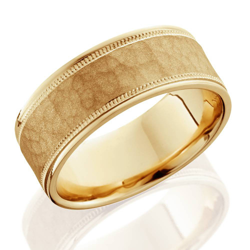 8mm hammered mens wedding band 14k yellow gold junglespirit Image collections