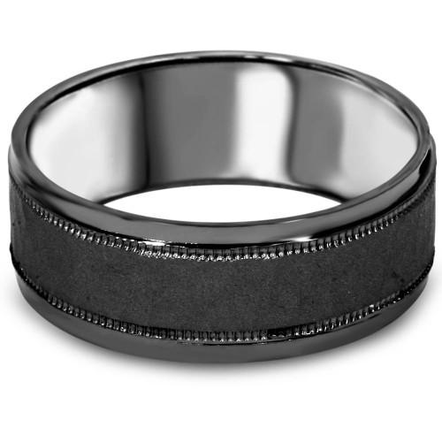 8mm Hammered 10k Black Gold Mens Wedding Band