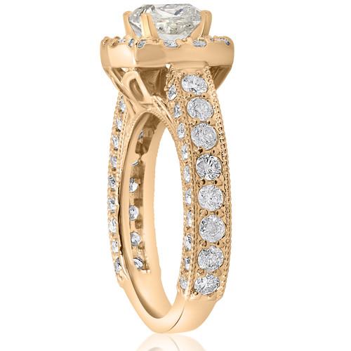 2 1 2ct Round Cut Diamond Engagement Ring Cushion Halo 14k Yellow Gold