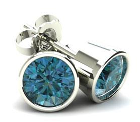 Round Bezel Set Blue Diamond