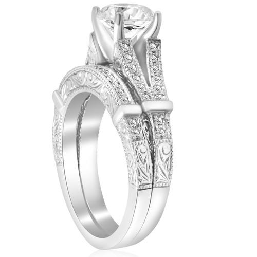 1 1/2ct Diamond Vintage Engagement Matching Wedding Ring Set 14k White Gold  (H/I, I1 I2)