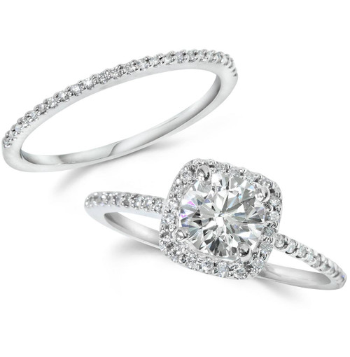 1CT Diamond Engagement Ring Cushion Halo Wedding Ring Set 14K White Gold