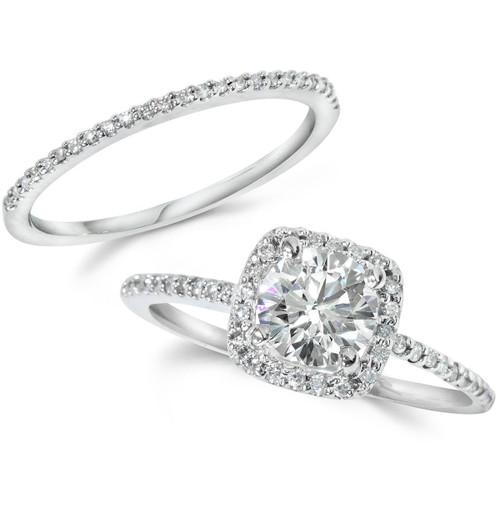1CT Diamond Engagement Ring Cushion Halo Wedding Ring Set 14K White Gold  (H I, I1