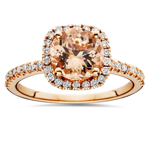 1 1/4 CT Morganite & Diamond Cushion Halo Engagement Ring