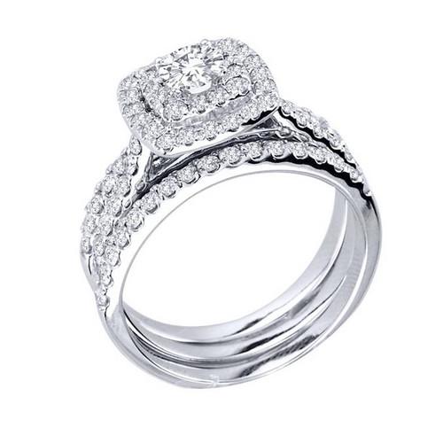 Superb 1 1/4ct Diamond Engagement Cushion Halo Wedding Ring Trio Set 10K White  Gold (H/I, I1 I2)