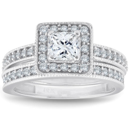 1ct Princess Cut Halo Diamond Engagement Wedding Ring Set 14k White Gold
