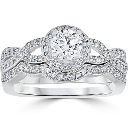 1 1/10ct Curve Engagement Ring & Matching Wedding Band 14K
