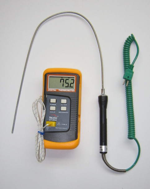 Digital K-type thermocouple thermometer DT804 with 19 inch 50 cm stainless steel insertion probe