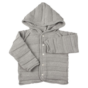Grey Hooded Jacquard Knit Cardigan