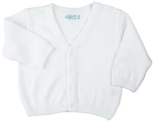White Zigzag V-Neck Knit Cardigan