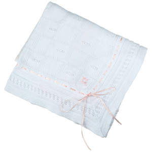 Ribbon Pointelle Knit Blanket