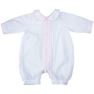White Girls Preemie Romper With Dots
