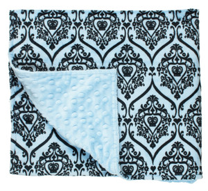 Blue Printed Faux Fur Blanket
