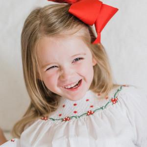 Long Sleeve Holiday Pearl Flower Bishop Dress