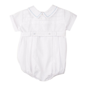 Preemie Boys Belted Creeper with horizontal Pleat