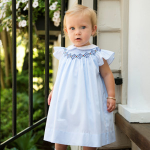 Argyle Smocked Fly Sleeve Dress
