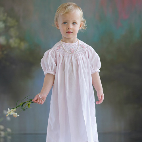 Rose Bouquet Smocked Bishop Style Dress